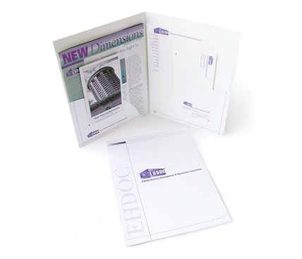 EHDOC dual pocket presentation folder containing brochure, newsletter and stationery package
