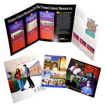 Image of brochures, catalogs and folder designs